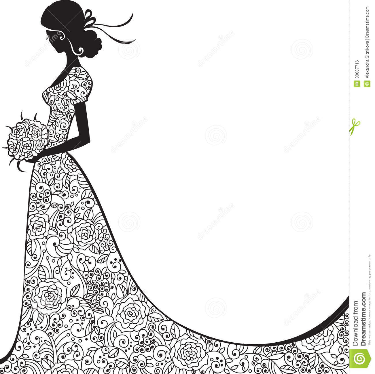 INSTANT DOWNLOAD, wedding dress clipart, silhouette clipart, for.