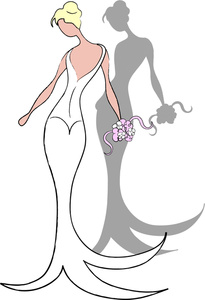 Wedding Dress With Long Train Clipart.