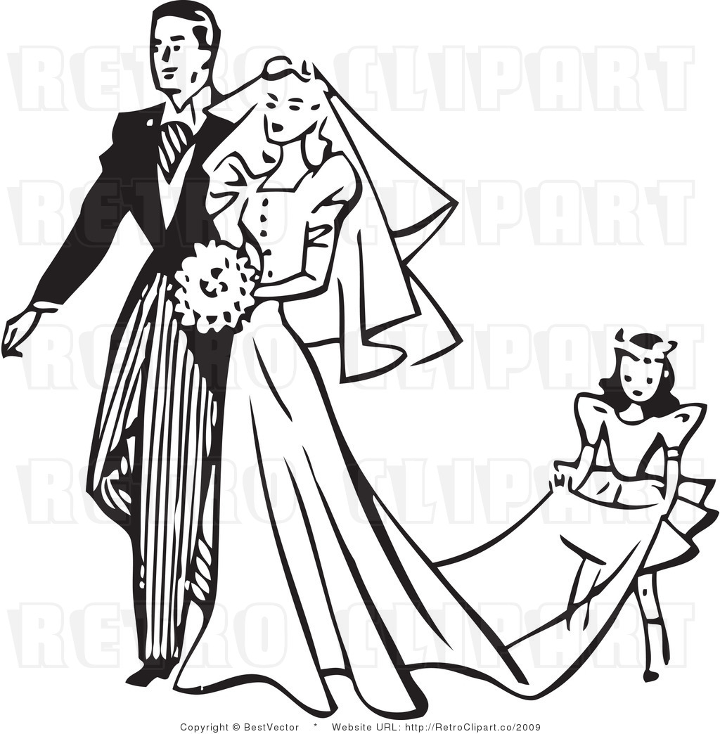 Vintage wedding dress clipart.