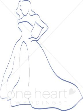 Teal Bride Clipart.