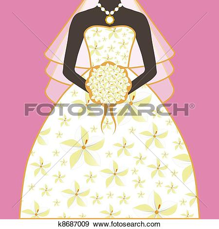 Stock Illustration of Bride Wedding Dress Floral Bouquet k8687009.