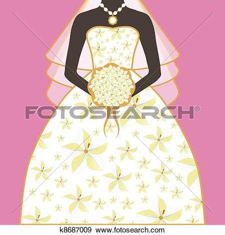 Stock Illustration of Bride Wedding Dress Floral Bouquet k8687009.