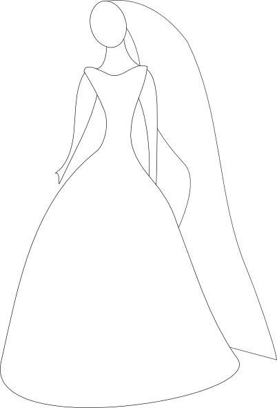Bride In Wedding Dress clip art Free vector in Open office.