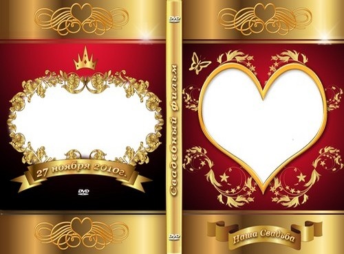 Wedding DVD cover template psd and template psd on the disc.