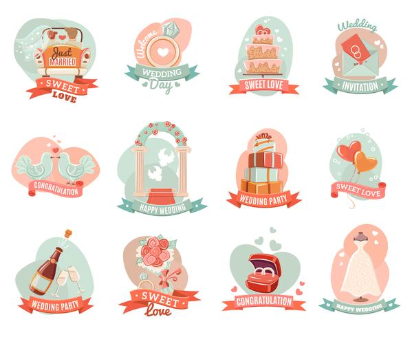 Wedding marriage engagement emblems stickers set.