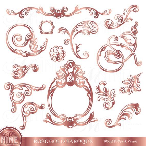 Rose Gold Clip Art / BAROQUE ACCENTS Clipart / Instant.