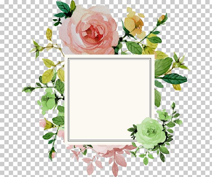 Wedding invitation Flower Rose, Flower Border, square white.
