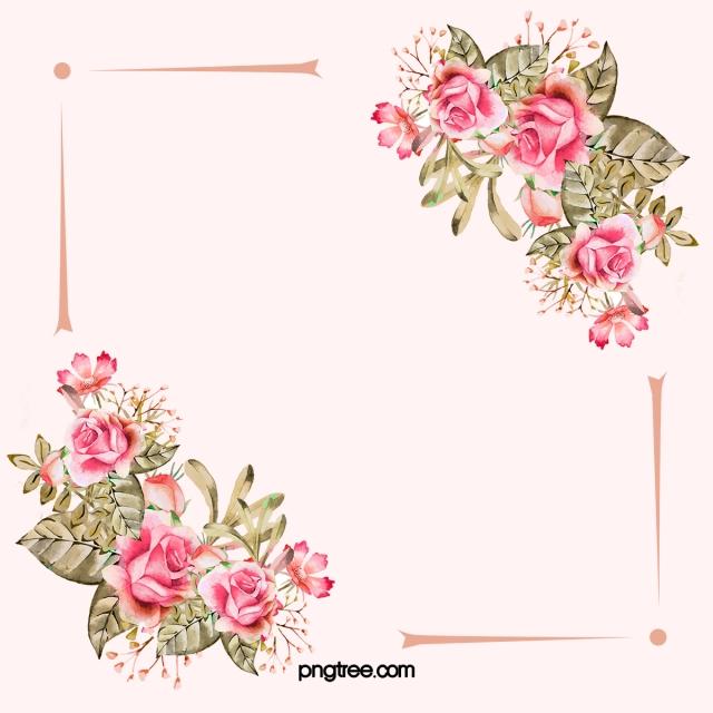 Watercolor Pink Wedding Flowers Border Background, Flower.