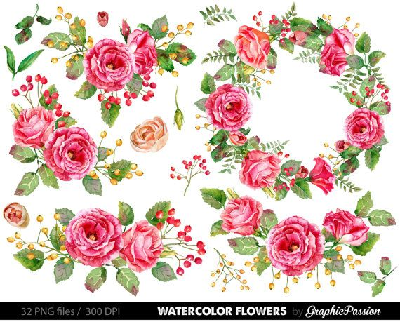 Watercolor Flower Clipart, Wedding floral Clip art, Floral.