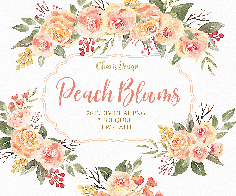Watercolor Flowers Peach Roses Peonies Bouquet Wreath.