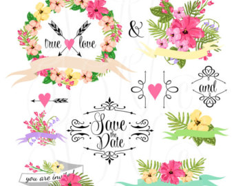 Wedding floral clipart.