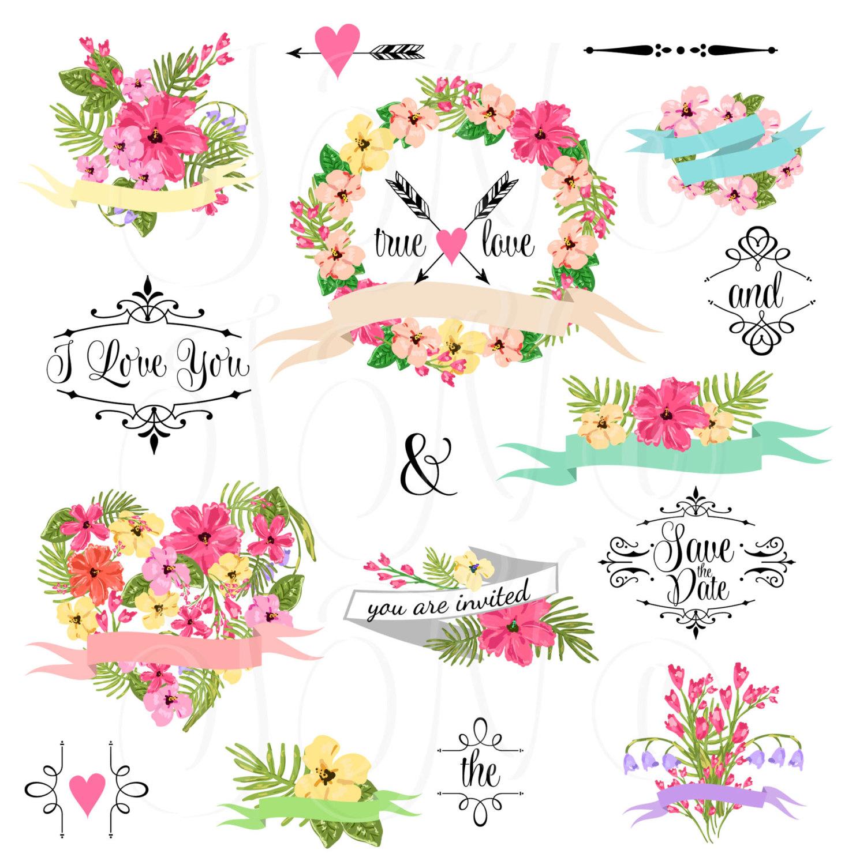 Wedding Floral clipart, Digital Wreath, Floral Frames, Flowers.