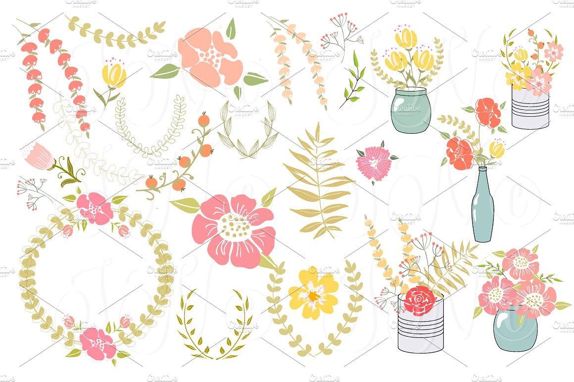Wedding Floral clipart, Wreath heart ~ Illustrations on Creative.
