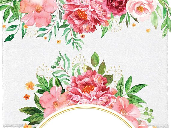 Wedding Blush Floral Frames and Borders Clipart.