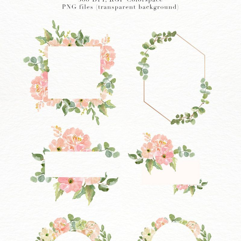 Watercolor Flower Border Clipart, Romantic Blush Peony.