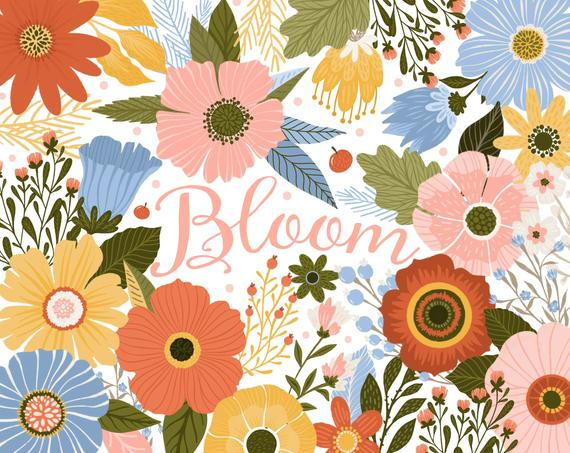Flower Clipart Blush Blooms, Floral Wedding Clip Art, Spring.
