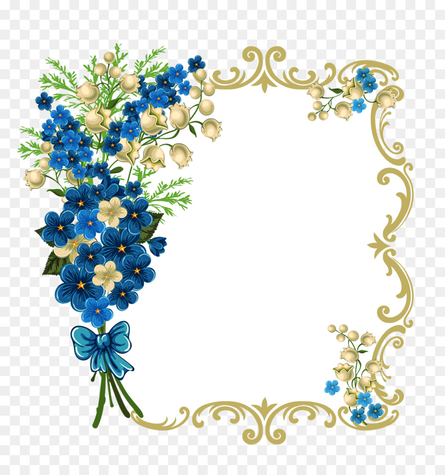Blue Flower Borders And Frames.