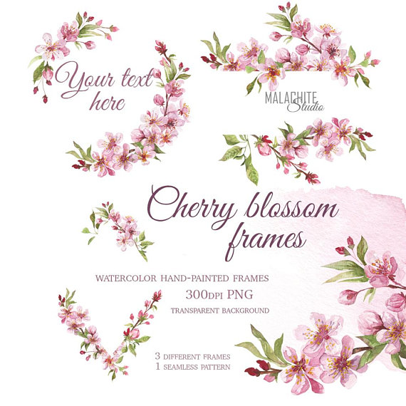 Cherry blossom frames, Watercolor hand painted frames.