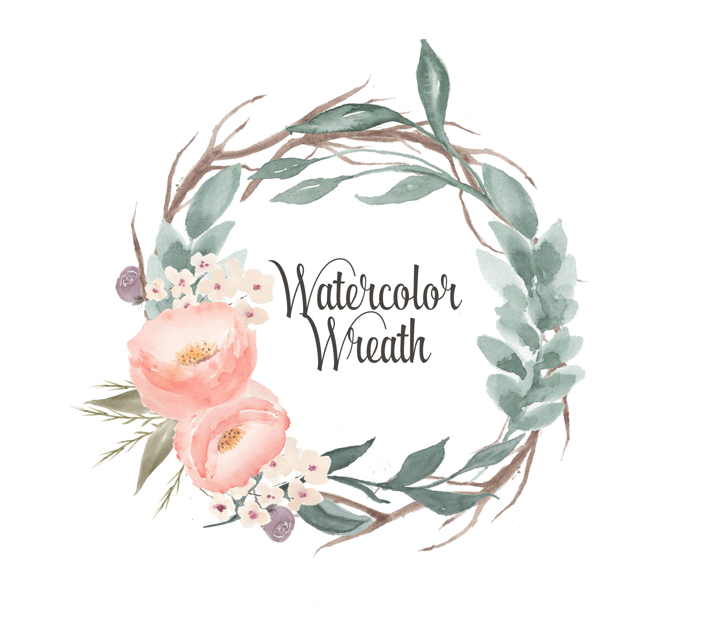 Watercolor Wreath Clipart, Floral frames, Borders, Wedding.