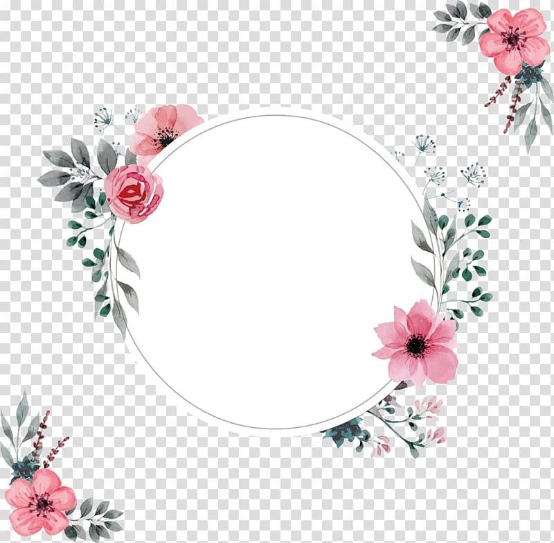 Wedding invitation frame, A pink border of water, pink.