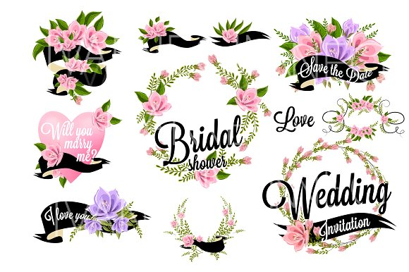 37 Wedding Floral clipart set.