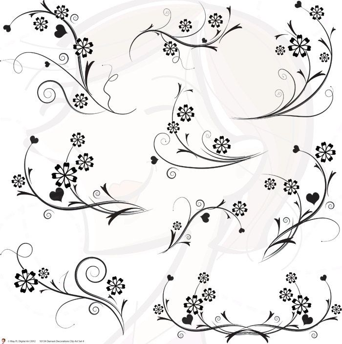 Wedding Flowers: black and white wedding flower clipart.