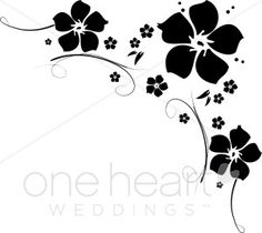 Free Clip Art Black and White Flowers.