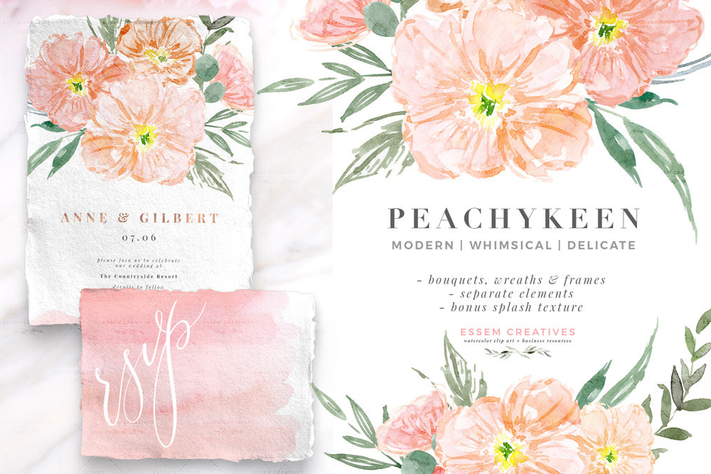 Blush Pink Watercolor Flowers Clipart, Blush and Sage Floral Graphics.