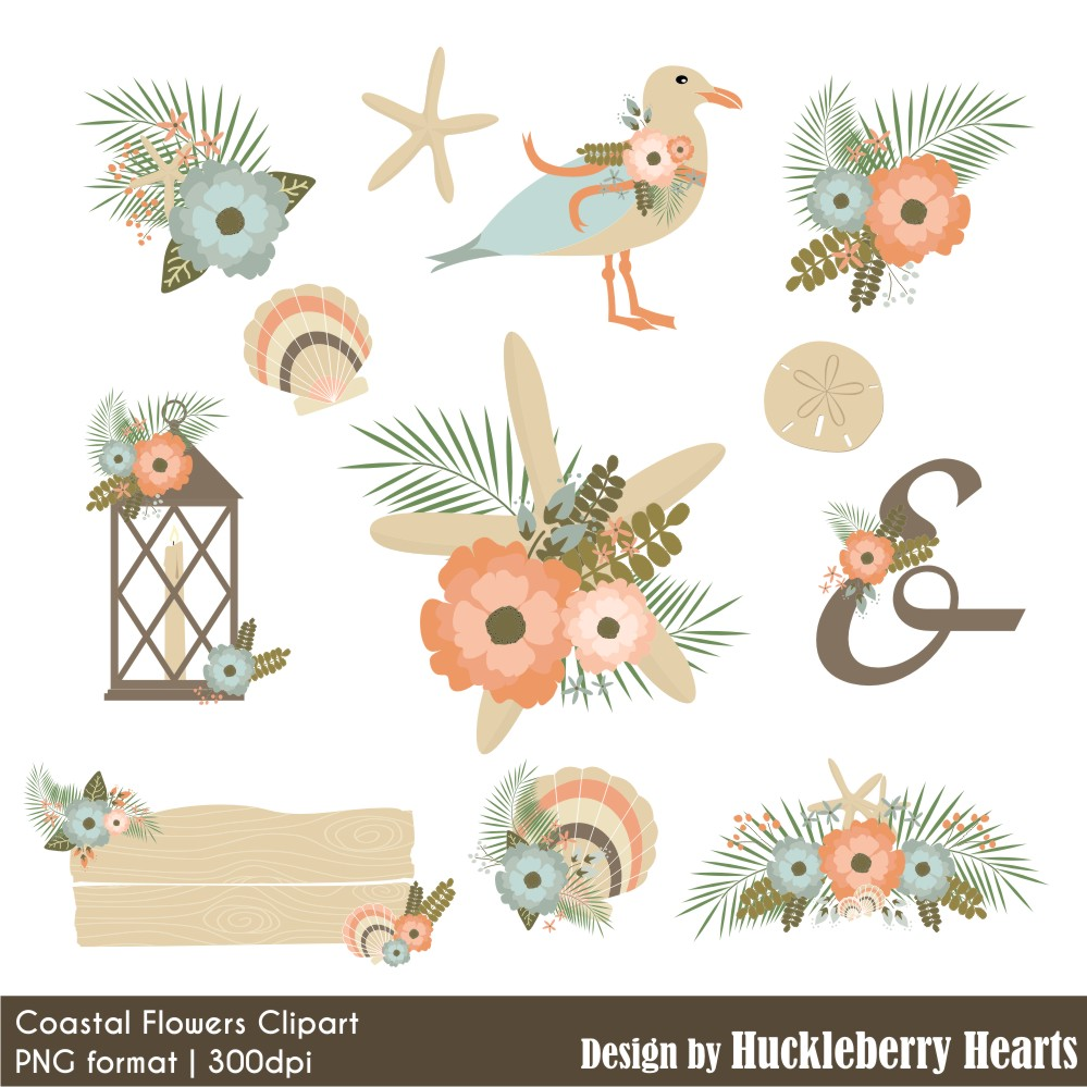 Coastal Flowers Clipart.