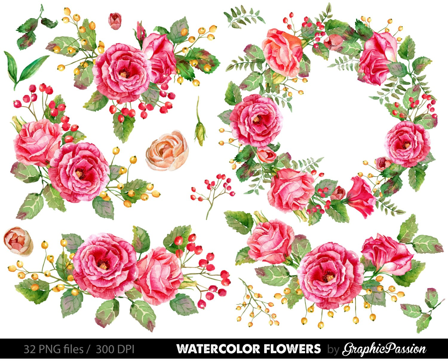 Wedding Flower Clip Art Beautiful Watercolor Flower Clipart.