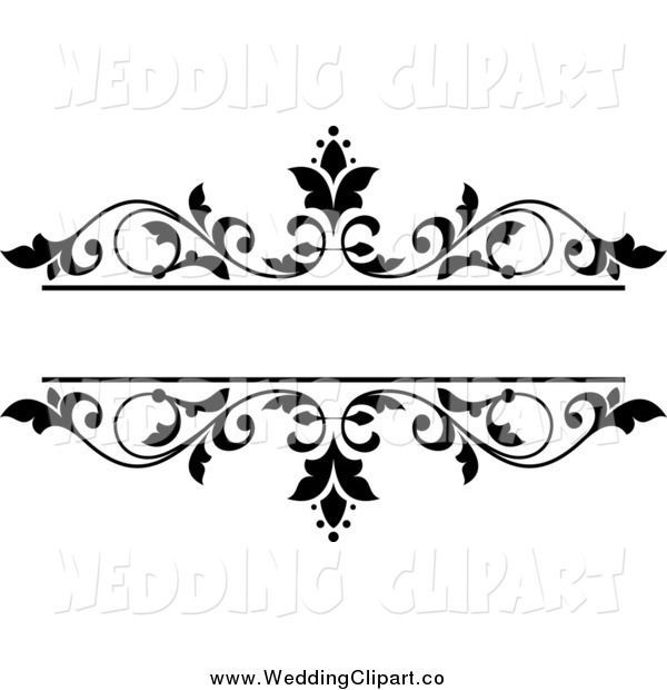 Vector Marriage Clipart of a Black and White Floral Wedding.