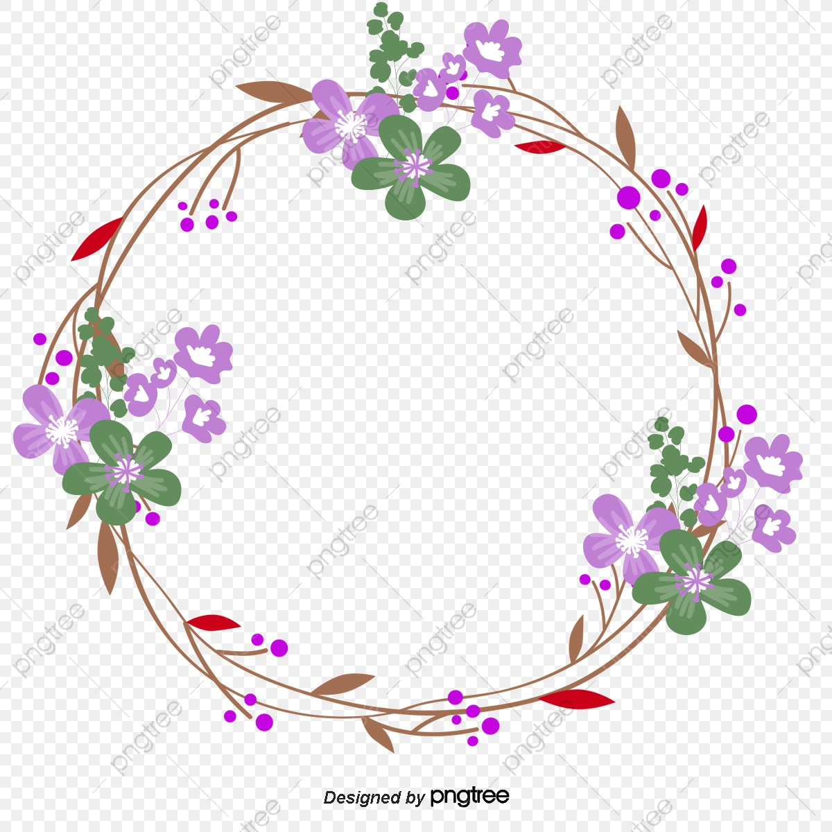 Vector Floral Garland Wedding Flat, Wedding Clipart, Flat.