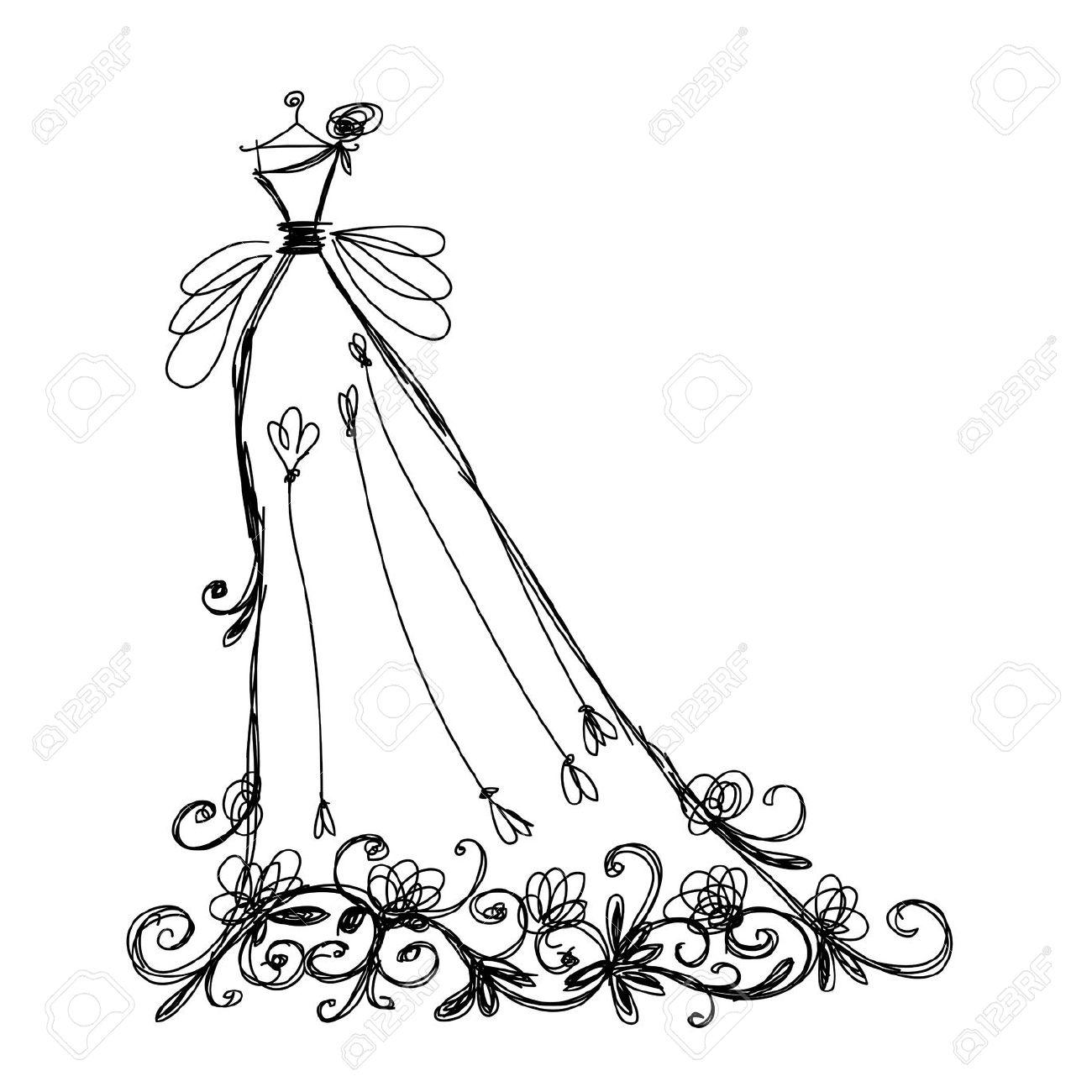 Vintage black dress on hanger clipart.