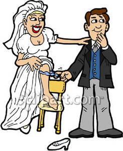 A Groom Pulling Off His Bride\'s Garter.