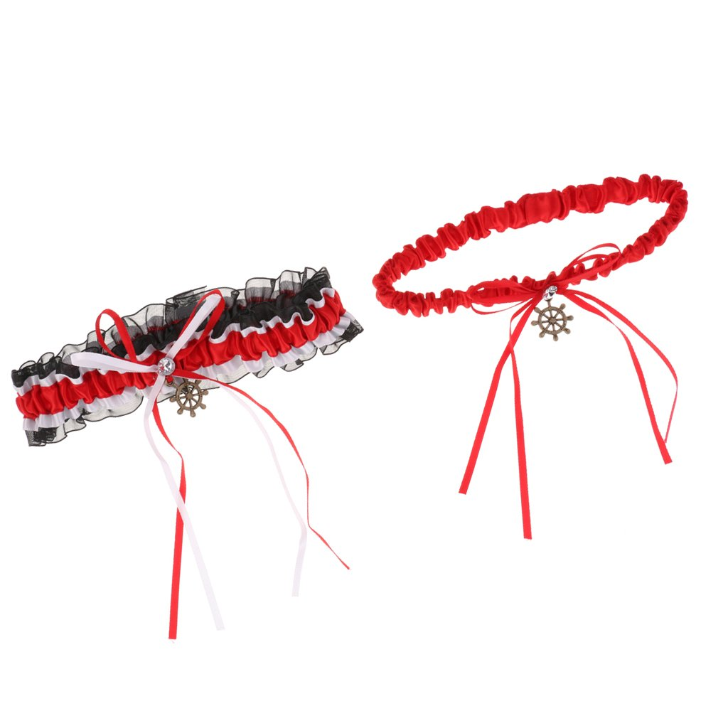 Amazon.com: MonkeyJack Pieces Of 2 Bow Rubber Lace Garter.