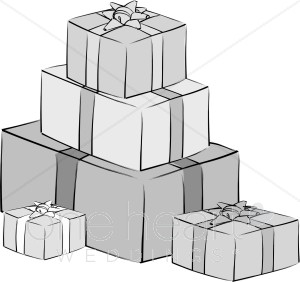 Grayscale Wedding Gifts Clipart.