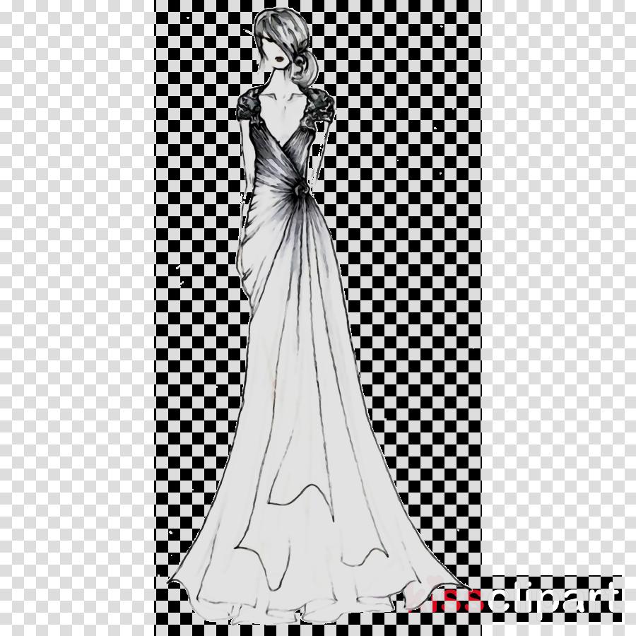Wedding Dress Drawing clipart.
