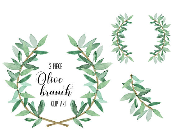 Watercolor Laurel greenery and coordinating branch set for.