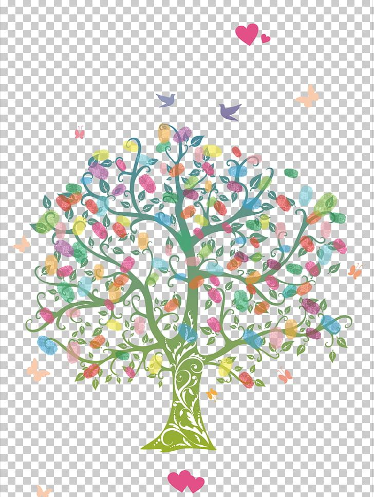 Fingerprint Tree Wedding Guestbook Coloring Book PNG.
