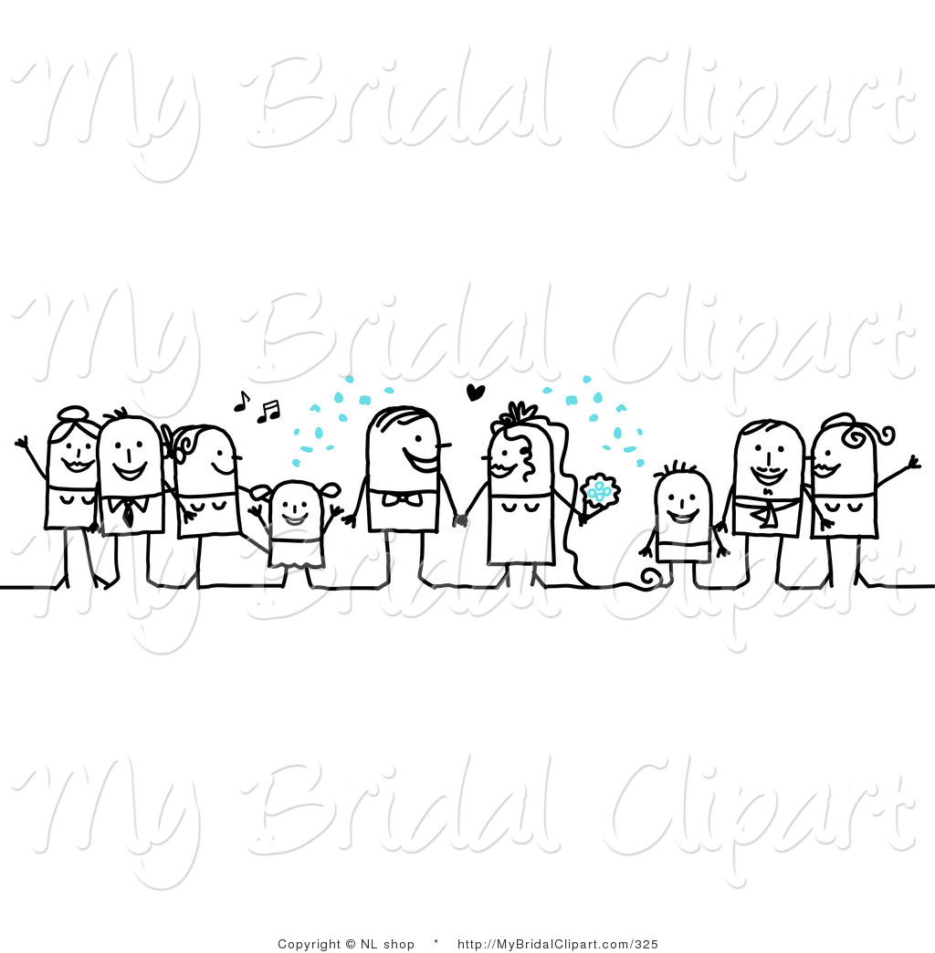 Bridal Clipart of Stick Figure People Character Wedding with the.