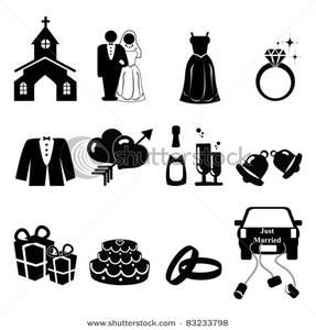 Wedding silhouette clip art.