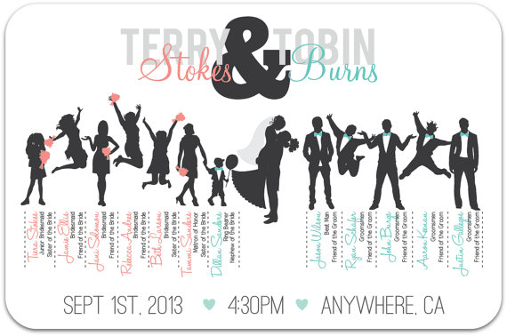 Wedding Party Silhouette Clip Art Bridal Party Silhouettes.