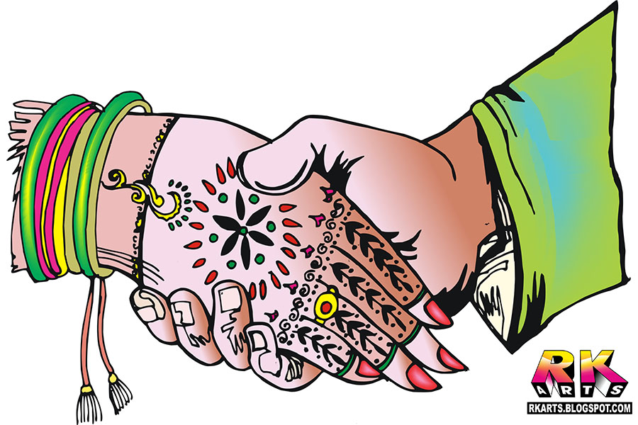 Indian Wedding Hands Clipart.