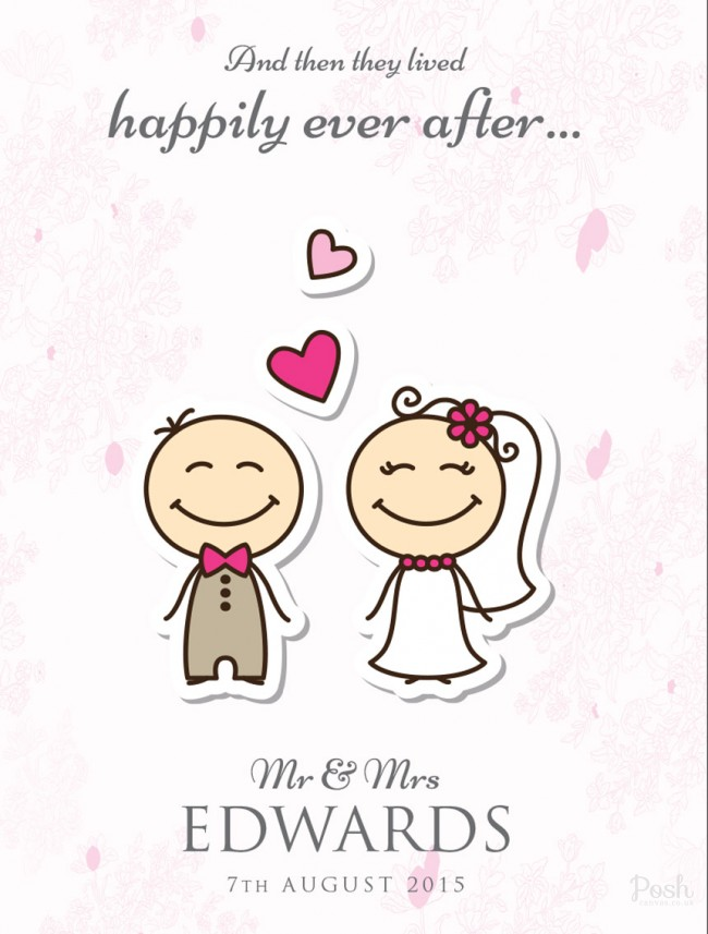 And They Lived Happily Ever After Personalised Clipart Canvas Print.