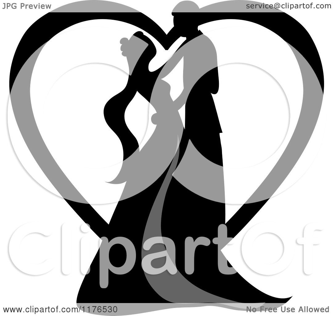 Clipart of a Black Silhouetted Wedding Couple Dancing in Front of.