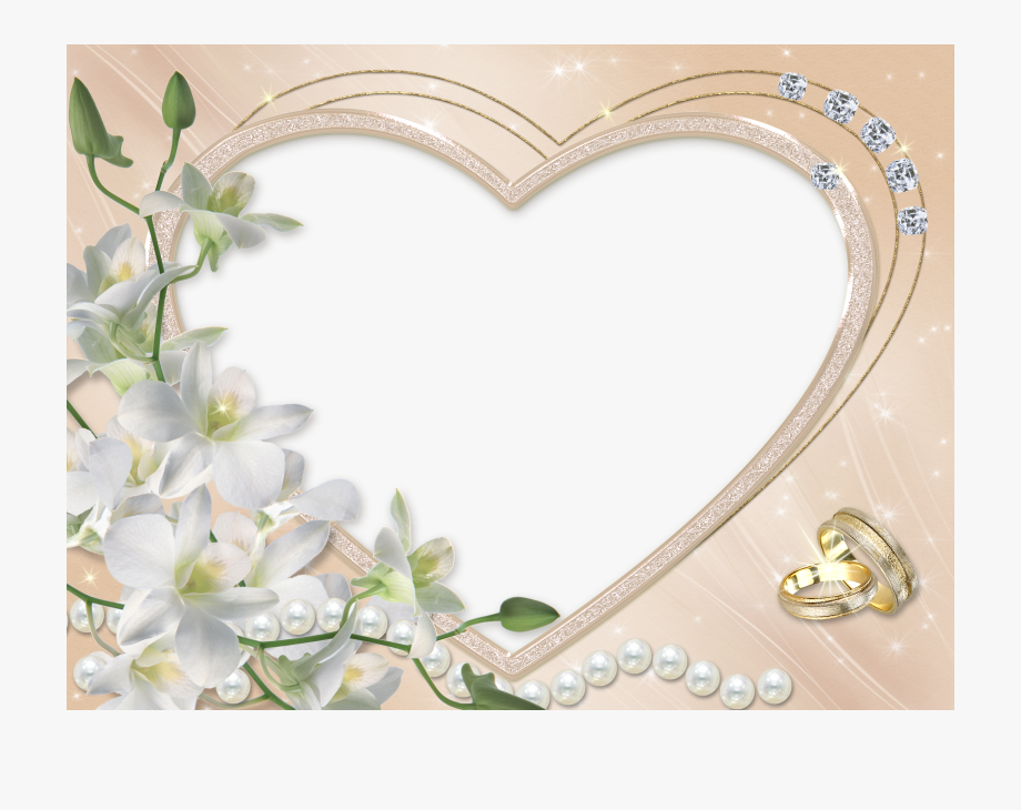 Heart Wedding Flower Transparent Frame.