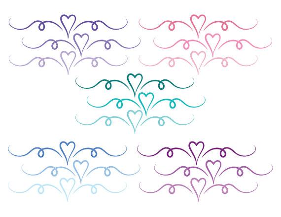 Heart divider, heart divider clip art, swirl clipart.