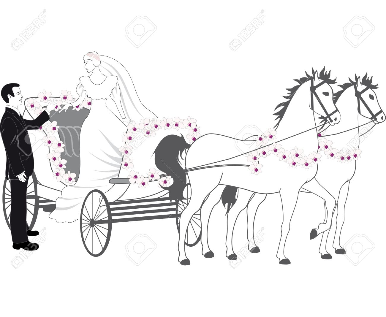 Chariot With Newlyweds Royalty Free Cliparts, Vectors, And Stock.