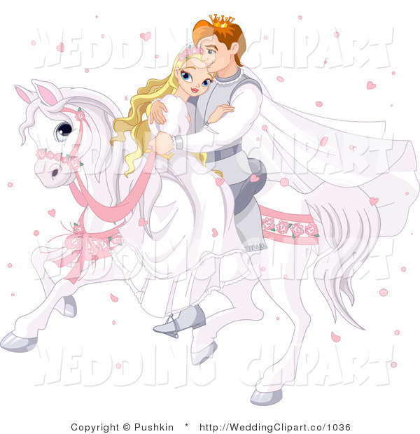 Vector Marriage Clipart of a Wedding Fantasy Prince and Princess.