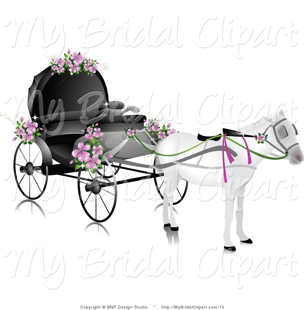 Wedding Chariot with Horses Clip Art.